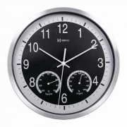 Relógio Parede Herweg 6416 034 Preto Termometro Higrometro