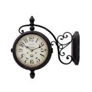 Relógio Parede Herweg 6425 Dupla Face Tipo Estação Retro