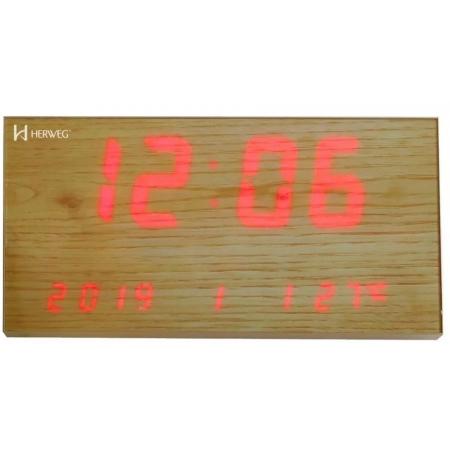 Relógio Parede Herweg 6491 296 Led Estilo Madeira Termômetro Calendário
