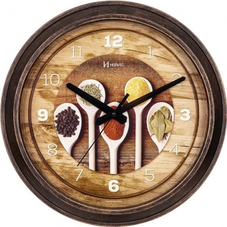 Relógio Parede Herweg 660006 245 Cozinha Marrom Madeira 37cm