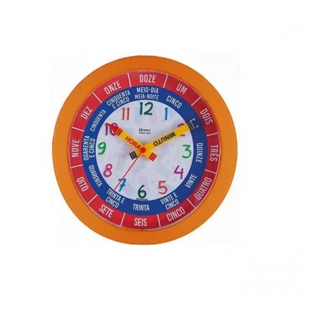 Relógio Parede Herweg 660046 270 Infantil Laranja Fala As Horas