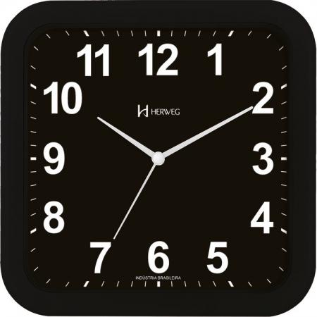 Relógio Parede Herweg 6670 034 Preto Quadrado 23cm