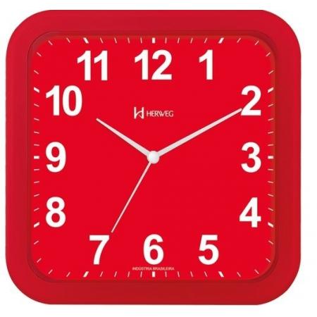 Relógio Parede Herweg 6670 044 Vermelho Quadrado 23cm