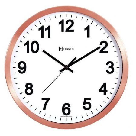 Relógio Parede Herweg 6726 319 Aluminio Rosê Fosco 36,5cm