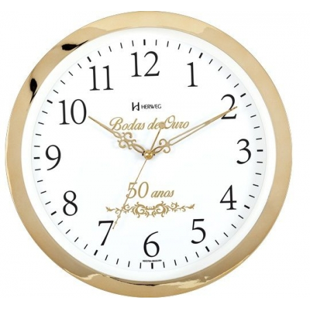 Relógio Parede Herweg 6815 029 Dourado Bodas De Ouro 34,6cm