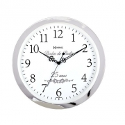 Relógio Parede Herweg 6816 028 Cromado Bodas Prata 34,6cm