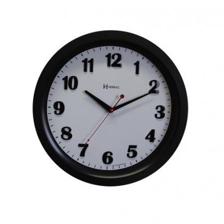 Relógio Parede Herweg 6825 034 Preto Fosco Redondo 34cm