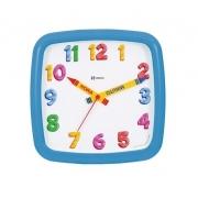 Relógio Parede Infantil 660080 014 Quadrado Azul 23cm