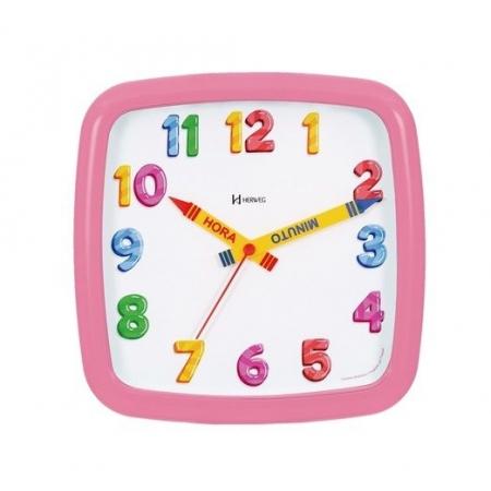 Relógio Parede Infantil 660080 234 Quadrado Rosa 23cm