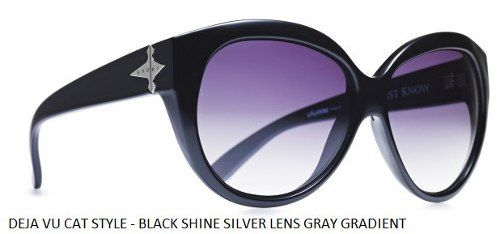 Oculos Solar Evoke Deja Vu Cat Style Black Shine Silver Gray