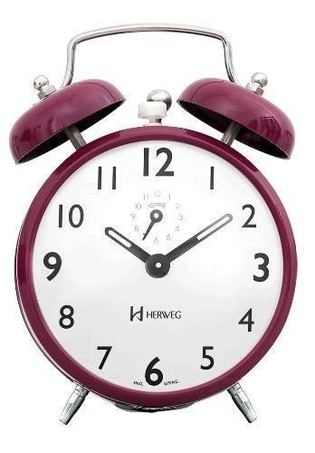 Despertador Herweg 2202 285 Roxo Retrô Vintage Relógio