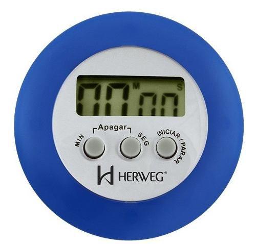 Timer Herweg 3303 102 Contagem Regressiva Alarme Sonoro Azul