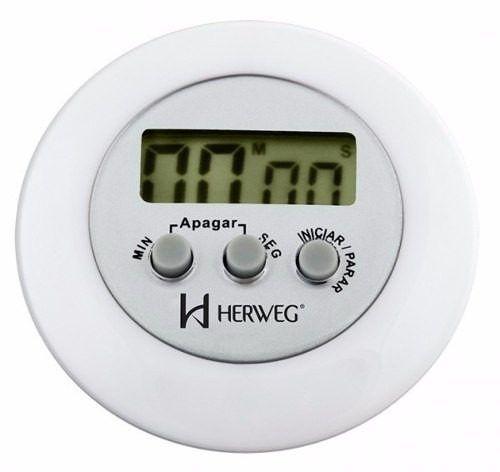Timer Herweg 3303 021 Contagem Regressiva Alarme Sonoro Branco