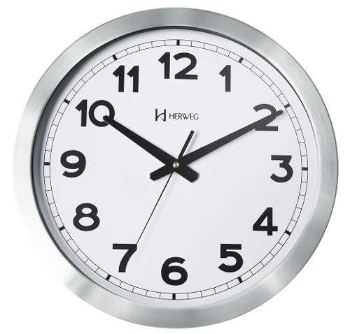 Relógio Parede Herweg 6429 50cm Grande Aluminio Escovado