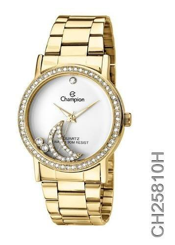 Relógio Champion Feminino C/ Strass Ch25810h - Garantia