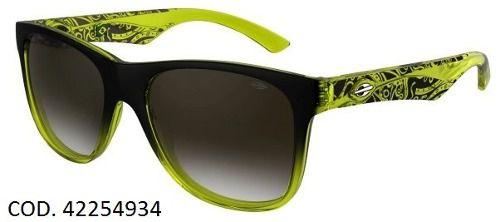 Oculos Solar Mormaii Lances - Cod. 42254934 - Garantia - Preto/Amarelo - Lente marrom Degradê