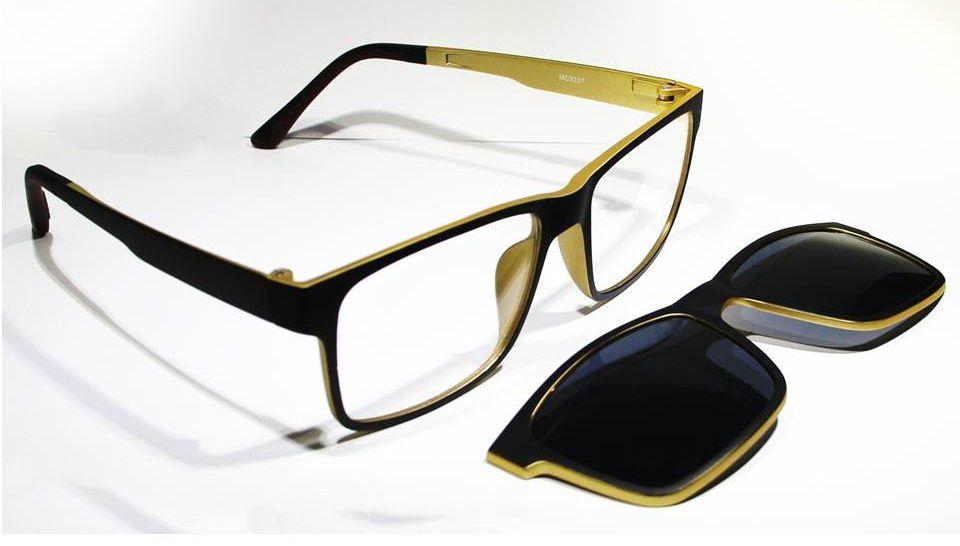 Armação Oculos Grau Clip On MC3227 C5 Preto Dourado Polarizado ... 21b7d56903