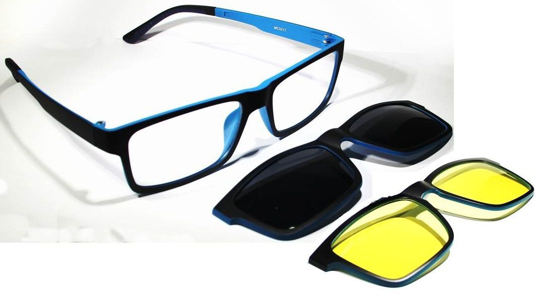df9e2c44c2be8 Armação Oculos Grau Com 2 Clip On MC3217 C3 Preto Azul Polarizado ...
