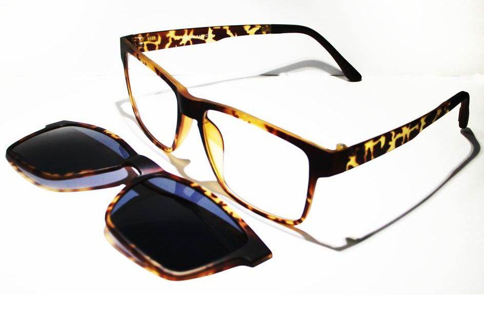 Armação Oculos Grau Clip On MC3222 C3 Marrom Polarizado - Loja ... e6e2675c2b