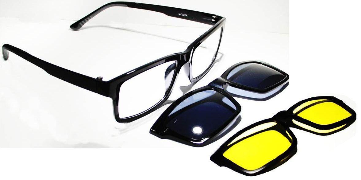 Armação Oculos Grau Com 2 Clip On MC3224 C2 Preto Polarizado - Loja ... a493052a19
