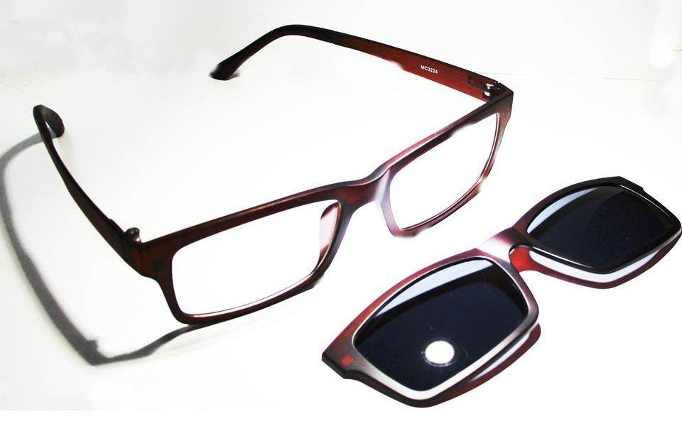 Armação Oculos Grau Com 2 Clip On MC3224 C3 Marrom Polarizado - Loja ... db3b0d7885