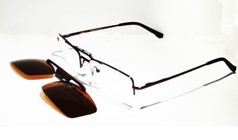 Armação Oculos Grau Com Clip On HY052 C2 Marrom Polarizado - Loja ... b56ee2d606