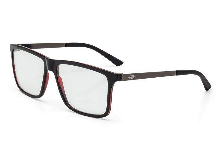 159a160e8 Armação Oculos Grau Mormaii Khapa M6045A9756 PRETO VERMELHO COM HASTES EM  METAL