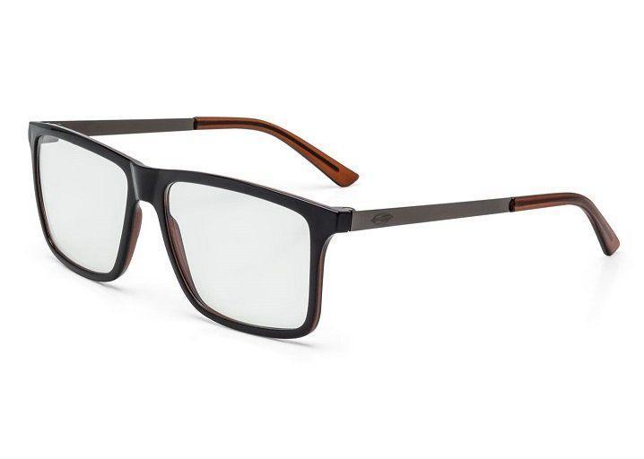 Armação Oculos Grau Mormaii Khapa M6045A9856 PRETO COM HASTES MARROM EM METAL