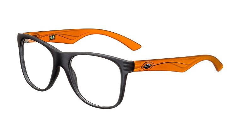 Armação Oculos Grau Mormaii Lances M1202D5653 Chumbo Laranja