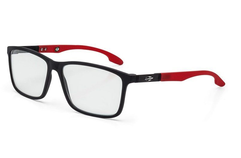 Armação Oculos Grau Mormaii Prana M6044A8555 Preto Fosco Vermelho