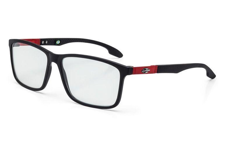 Armação Oculos Grau Mormaii Prana M6044A9555 Preto Fosco Vermelho