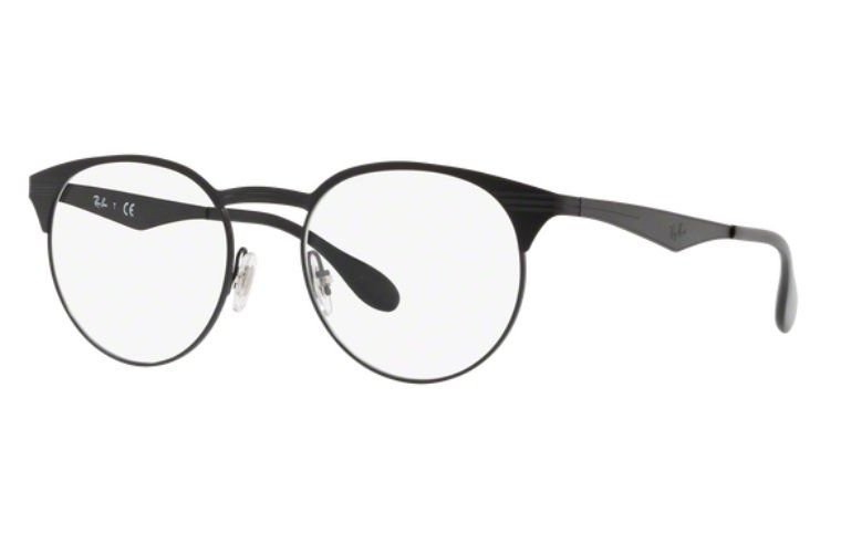 oculos de grau ray ban rx6362 preto brilho e fosco metal