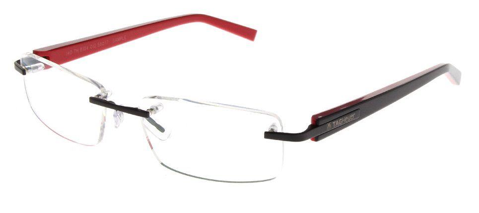 Armação Oculos Grau Tag Heuer TH 8104 012 Preto Vermelho