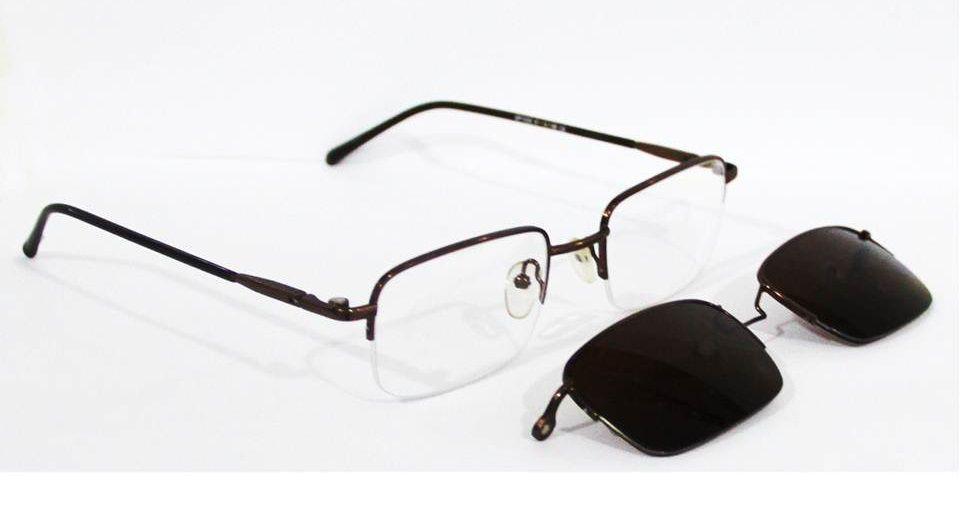 Armação Para Oculos Grau com Clip On SP1023 Marrom - Loja Solare ... 9427646100