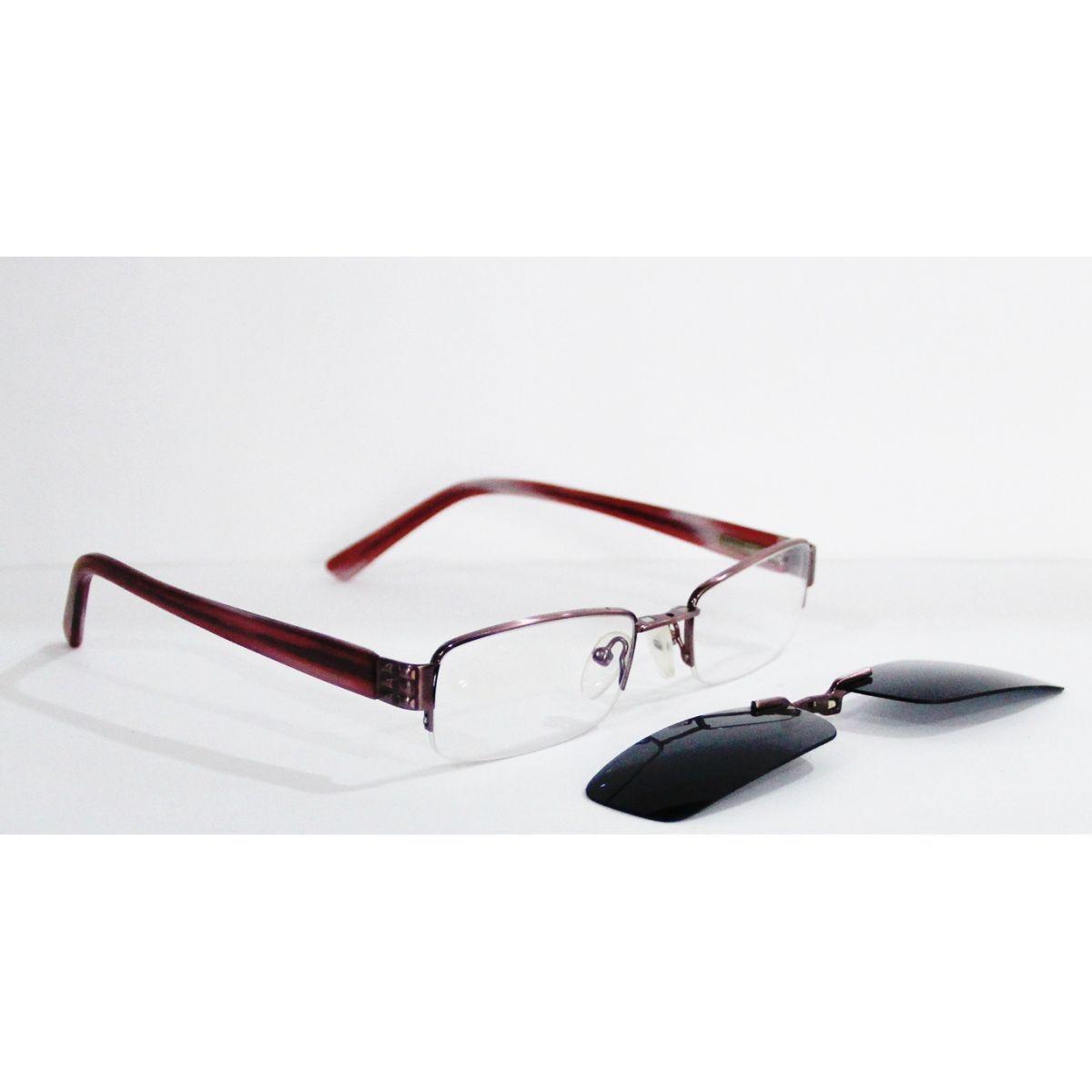 Armação para Oculos Grau Com Clip On YSQ4779 Feminina Rosa Escuro ... e614c280c2