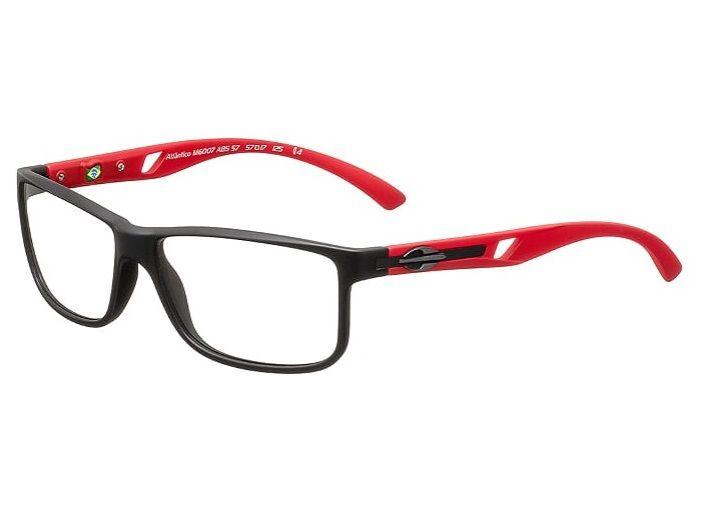 Armação Para Oculos Grau Mormaii Atlantico M6007A8557 - PRETO COM HASTES EM VERMELHO