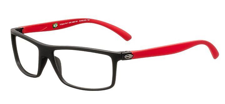 Armação Para Oculos Grau Mormaii Eclipse Full Cod. 1126A8554 Preto Fosco Vermelho