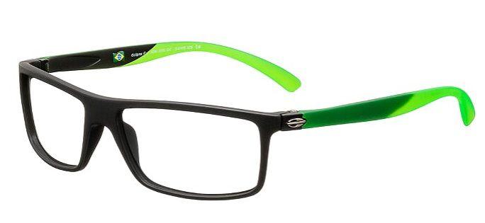Armação Para Oculos Grau Mormaii Eclipse Full Cod. 1126A8654 Preto Fosco Verde