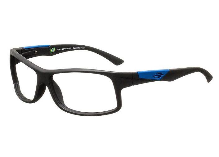 Armação Para Oculos Grau Mormaii Vibe Cod. 1127A4154 PRETO COM DETALHES EM AZUL NAS HASTES