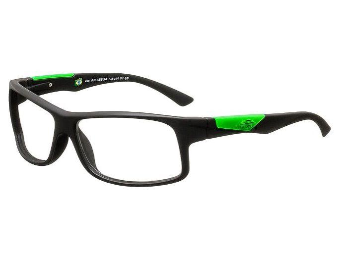 Armação Para Oculos Grau Mormaii Vibe Cod. 1127A8654 Preto Fosco Verde