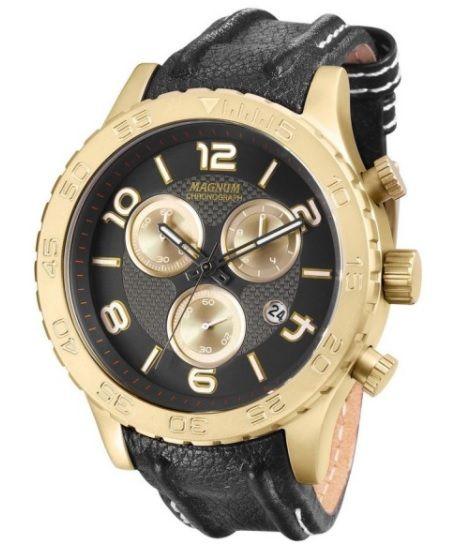 0a753f51ffc5f Relógio Magnum MA33504U Calendario Cronografo Pulseira Couro - Loja ...
