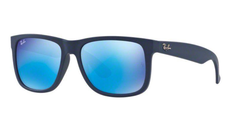 5855efa75cd4f ... store oculos de sol ray ban justin rb4165l 620955 55mm azul fosco lente  azul espelhada d2ec3 ...