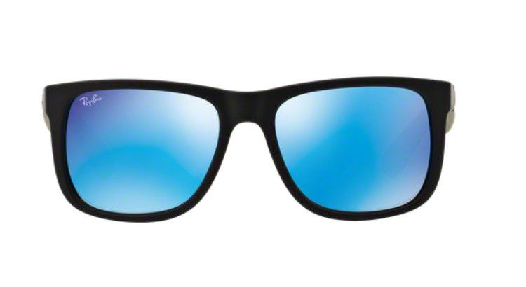 c81a92a8db156 ... best price oculos de sol ray ban justin rb4165l 622 55 55 preto fosco  lente azul ...