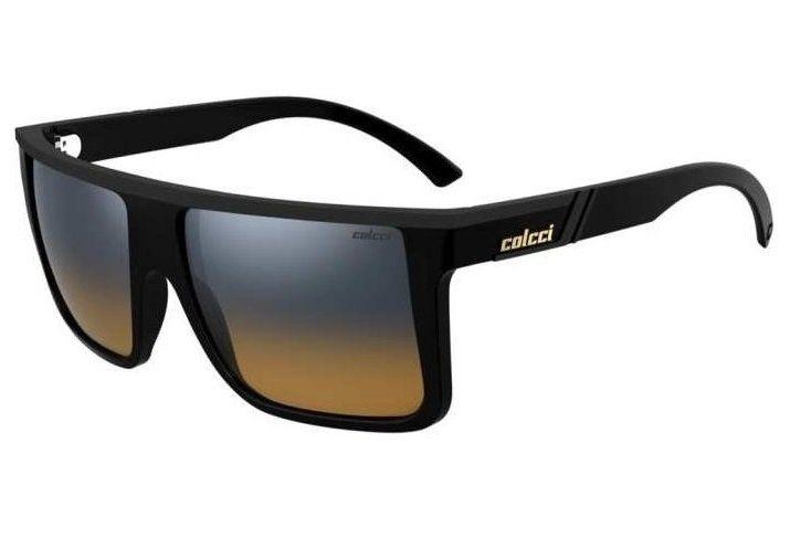 Oculos Solar Colcci Garnet 501200123 Preto Brilho Lente Azul Degradê Laranja Espelhado