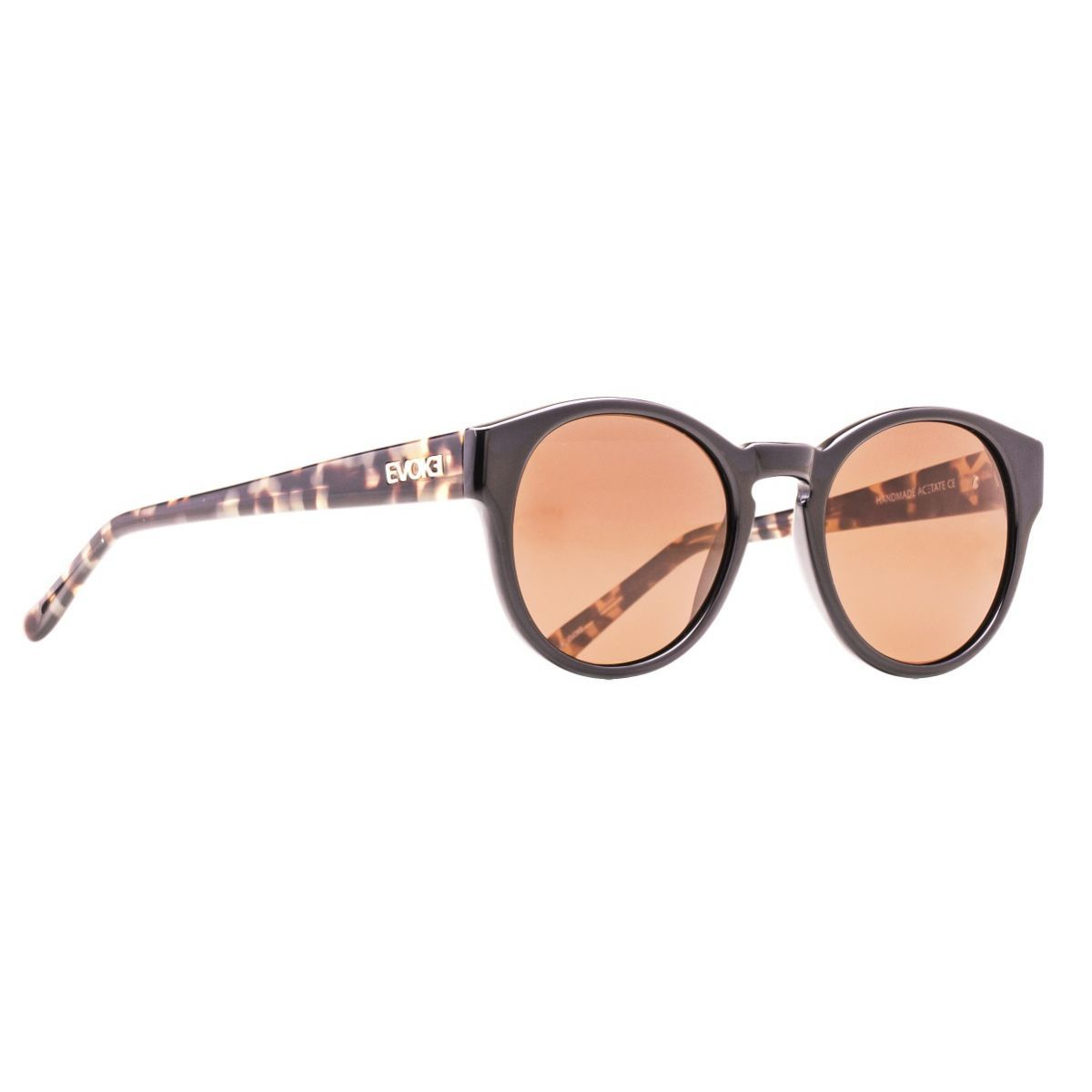Oculos Solar Evoke EVK16 Black Shine Temple Demi Blond Gold Brown Total