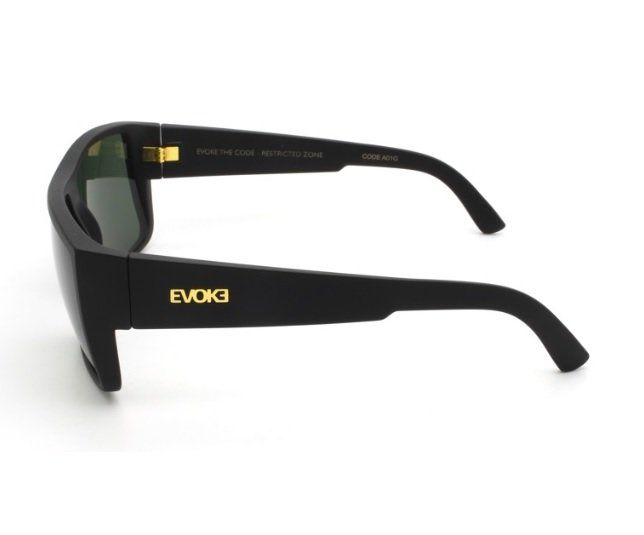 Oculos Solar Evoke The Code A01G Black Matte Gold G15 Green Total