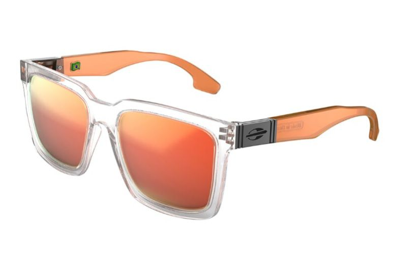 Oculos Solar Mormaii Sacramento M0032d5491 - Cinza Translucido/ Haste Laranja Translucido - Lente Laranja Espelhado