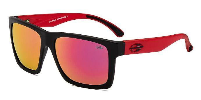 Oculos Sol Mormaii San Diego M0009A8511 Preto Fosco Lente Vermelha Espelhada