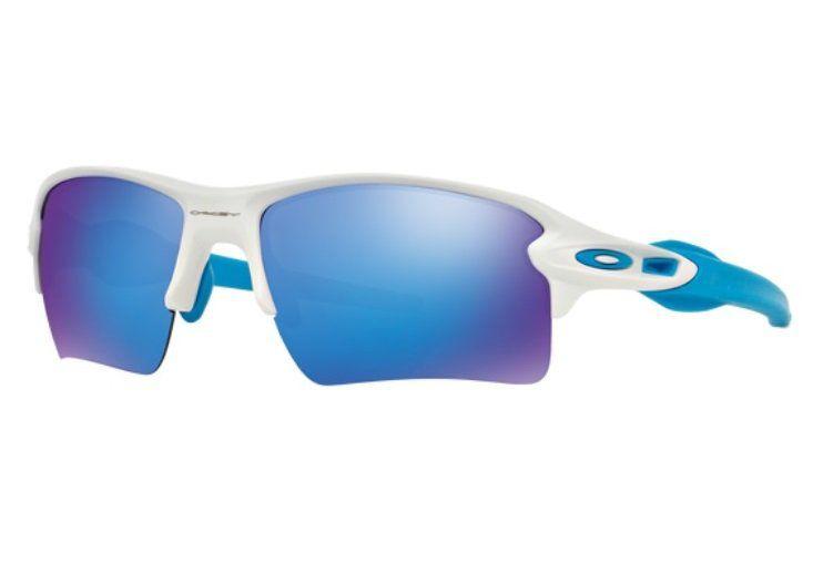 Oculos Solar Oakley Flak 2.0 XL MATTE WHITE SAPPHIRE IRIDIUM 918802 BRANCO COM HASTES BRANCO/AZUL