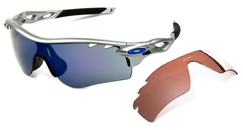 Oculos Solar Oakley Radarlock Silver Ice Iridium Com 2 Lentes 918103